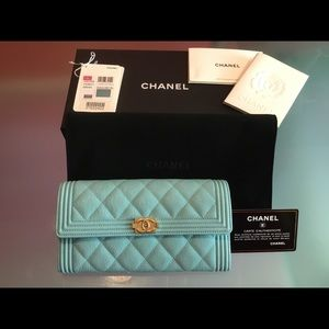CHANEL Bags - CHANEL Tiffany Blue Caviar Boy Flap Wallet